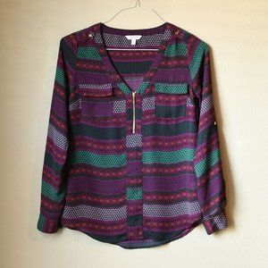 Candie's Purple Print Roll Sleeve Blouse